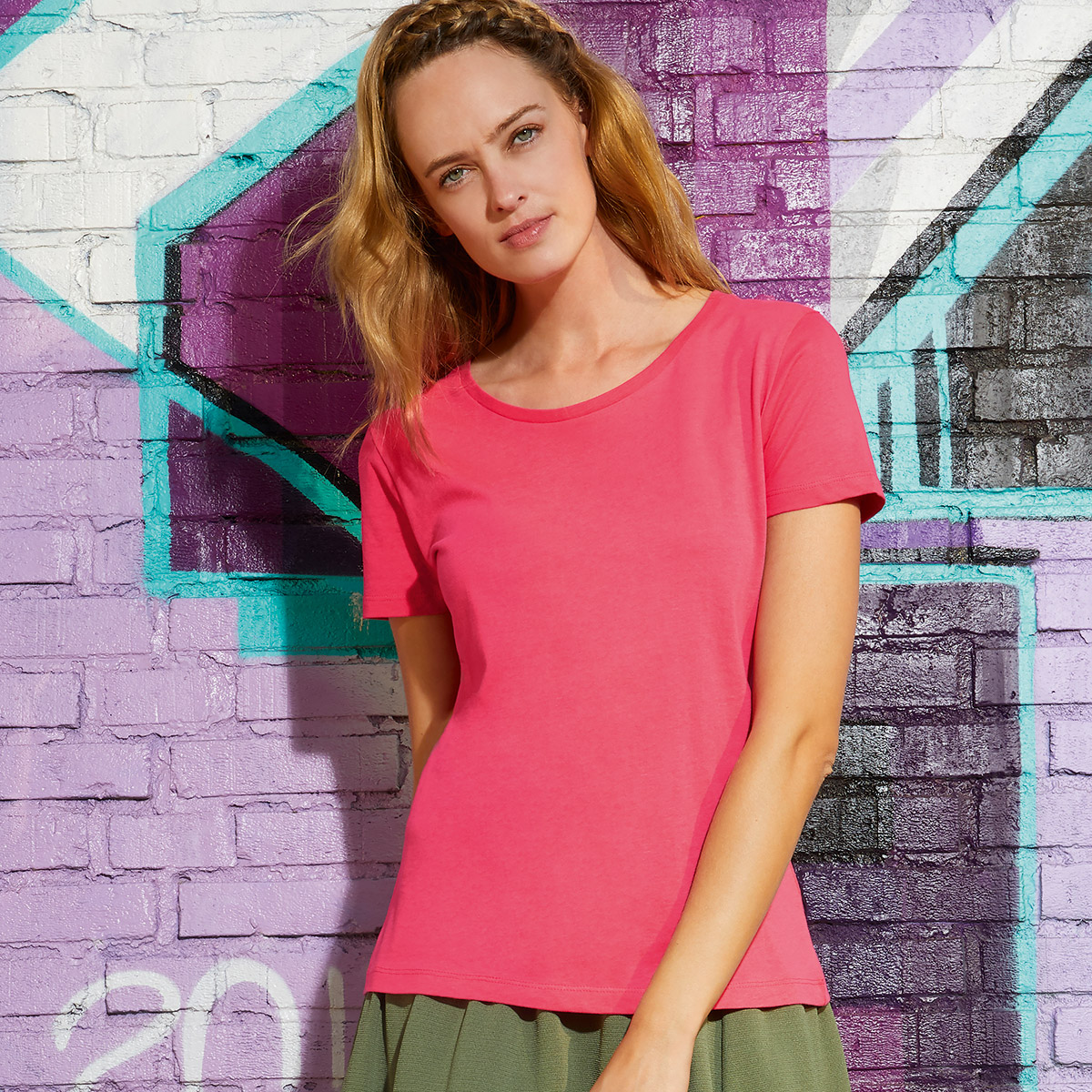 T-shirt in cotone ring-spun cotone organico donna