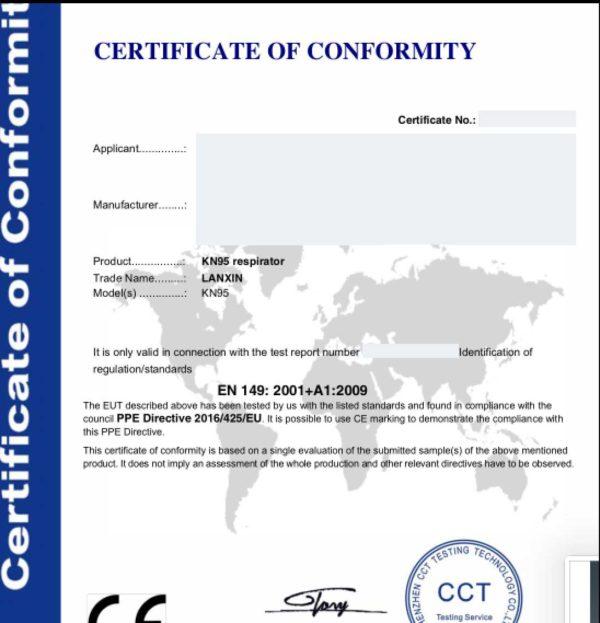 BARETZ-certificazione-MASCHERINA-KN95-